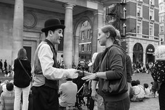 Shaking hands with a legend (Oregami) Tags: bowlerhat charliechaplin coventgarden handshake london streetperformer streetphotography stphotographia
