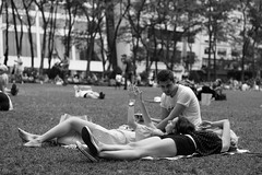 L1002964 (kogh65) Tags: new york photography photo travel art 2016 nyc ny street black white leica m mono tone city outdoor life people depth field reportage young kogh candid camera focus pov picture 50mm image manhattan artist kogh65 girl sun park hot tanning bw bryant public sunny blackandwhite monochrome