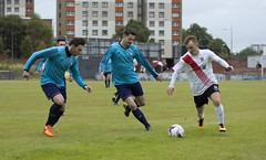 Peter McGill seeking a way past two opponents (Stevie Doogan) Tags: clydebank glasgow perthshire exsel group sectional league cup wednesday 10th august 2016 holm park