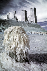 Ghostly seaweed, Reculver, Kent (Sean Hartwell Photography) Tags: ir infrared falsecolour sea seaweed seaside reculver kent england ruins church beach eosm canoneosm 22mm stmarys