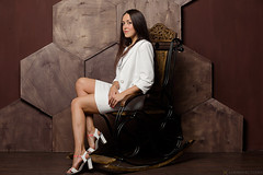 Yulia (Lumowelt) Tags: girl portrait studio strobe yaroslavl russia beautiful retrato softlight woman      wooden rockingchair