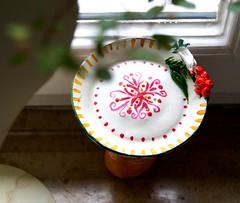 Teelichtbüstenhalter handgefertigt (krewerkerstin) Tags: tee teelichtbüstenhalter teelicht clay modellieren malen ton schale bunte muster