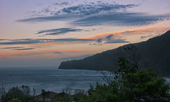 nightfall in Mid Atlantic (lunaryuna) Tags: portyugal azoresislands azores ilhassazuais ilhadofaial praiadonorte bay coast landscape seascape sky clouds cloudscape cliffs sunset sundown dusk nightfall nature beauty sea atlantic midatlantic lunaryuna