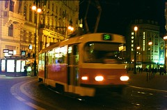 8 (kaddafi210) Tags: street camera old light test classic film night analog 35mm vintage lens czech prague kodak tram praha oldschool retro 400 m42 ddr manual t3 leak praktica palladium gdr tatra 1850 carlzeiss czj republiky namesti carlzeissjena pancolar1850 colourfilm ausjena prakticaplc2 plc2 kodakultramax400 pancolarzebra