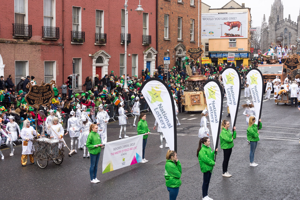 """INISHOWEN CARNIVAL GROUP """"THE MINISTRY OF PEACE AND LOVE"""" ST. PATRICK'S PARADE 2015- REF-102308"""