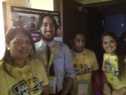 Miami international Film Festival manager Robert Colom with volunteers at the Cinepolis theater in Coconut Grove