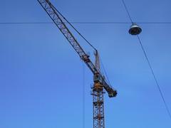 Crane Composition (phlpp.hrm) Tags: blue sky germany deutschland nikon crane streetlamp himmel bluesky hannover baustelle coolpix blau constructionsite kran blauerhimmel p300 strasenlampe nikoncoolpixp300