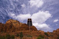 Chapel of the Holy Cross (subgenius1) Tags: trees arizona sky southwest church nature clouds landscape desert outdoor sedona monsoon serene redrock arid juniper