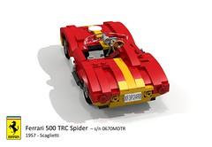 Ferrari 500 TRC Spider (Scaglietti - 1957) (lego911) Tags: auto italy classic sports car spider model italian lego render under over ferrari 1950s million 1957 500 challenge lemans thousand tr cad sportscar racer 89 barchetta povray moc scaglietti trc ldd miniland 0670 lego911 0670mdtr overamillionunderathousand