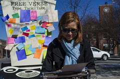 2015-05-02 Free Verse Union Square (consolecadet) Tags: art writing somerville publicart somervillema unionsquare typewriters freeverse artsweekboston