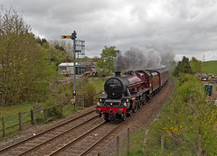 "LMS Jubilee Class 6P 4-6-0 no 45699 Galatea in charge of ""The Hadrian"" approaching Brampton Station 16th May 2015 (penlea1954) Tags: uk station newcastle jubilee class steam line cumbria signal carlisle hadrian semaphore brampton the lms 460 galatea 6p 45699"