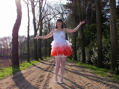Out and about (Paula Satijn) Tags: road trees red white hot sexy stockings girl smile sunshine fun outside dress legs girly feminine joy skirt tgirl heels gown miniskirt gurl stockingtops
