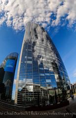 Cloudscraper (reflective perspicacity) Tags: plaza bw paris france seine architecture modern europe skyscrapers europeanvacation eiffeltower ladefense fisheye reflective arcdetriomphe modernarchitecture