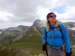 Gazinf up at Pizzo d'Intermesoli, with Pizzo Cefalone behind (markhorrell) Tags: italy walking abruzzo gransasso apennines pizzocefalone