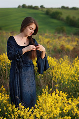 Lady on Walk-2 (Pavlo Kuzyk) Tags: girl pretty dress field rapeseed spring nature canon ivanofrankivsk ukraine