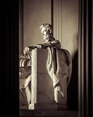Lincoln (John Getchel Photography) Tags: blackandwhite monument washingtondc us washington districtofcolumbia unitedstates nationalmall lincolnmemorial abrahamlincoln splittone