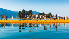 Clear reflections (Nicola Pezzoli) Tags: blue summer sky italy lake tourism water yellow canon reflections piers floating clear monte bergamo brescia lombardia christo isola iseo