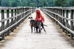 Lithuainia - Birai - Astravas.... Loving it... <3 (D.Sinkute) Tags: dog lithuainia lietuva litauen bridge redhead red friend lake photography girl cool happy summer holidaywork birai