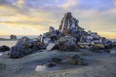 Shagged Rock (d_willing) Tags: coast coastal coastline sumenr christchurch canterbury newzealand seascape beach beachscape landscape sunset sunrise shagged rock pile rubble