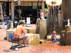 Lake Anne Plaza, Reston (dckellyphoto) Tags: reston lakeanne lakeanneplaza virginia restonvirginia restonva plaza kids father son daughter sitting playing fountain water outside concrete modern brick fairfaxcounty summer