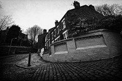 Around the corner (JEFF CARR IMAGES) Tags: northwestengland blackandwhite streets towncentres