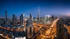 Dubai Just After Sunset (explored) (hpd-fotografy) Tags: dubai uae architecture bluehour center city cityscape future longexposure neon night nightphotography skyline skyscraper street sunset traffic ~themagicofcolours~viii visipix