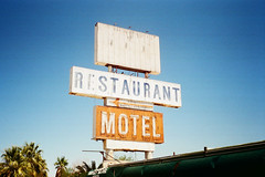 Abandoned Motel Death Valley, California (Ash Dowie) Tags: singage type typography neon retro vintage rustic abandoned motel restaurant bluesky summer july california deathvalley americana film 35mm olympus trip35 fujifilm superia xtra 400 nofilter travel photography analogue