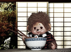 Enjoy yourmeal, Jareth (Monkey Culture) Tags: monchhichi toho daisuke toy stuffedtoy toyart toyphotography