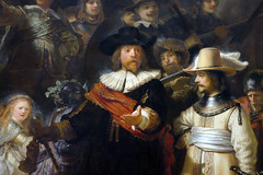 Rembrandt, The Night Watch, detail with captain and shooter