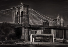 The Waterfront [Explore] (NYRBlue94) Tags: new york city bridge brooklyn pencil sketch manhattan carousel charcoal lower janes