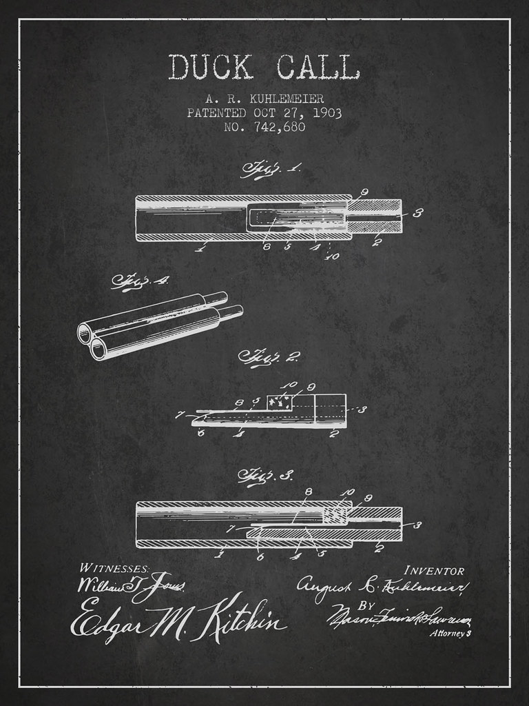 The worlds best photos of blueprint and vintage flickr hive mind duck call patent from 1903 patents wall art tags vintage antique hunting blueprint malvernweather Gallery