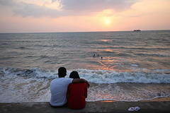 Dusk % Dawn+ love + luv ';';';.,Sunset Beach (Himash De Silva) Tags: city sun love beach beautiful night canon relax happy eos evening is couple waves sundown dusk ships relaxing e sunsetbeach srilanka usm enjoying colombo chillaxing awn 6d gallface f4l ef1635mm coudling duskdawnloveluv