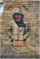 East End Street Art (Mabacam) Tags: streetart man london wall hoodie stencil wallart urbanart shoreditch aerosolart spraycanart stencilling eastend 2015 rs75