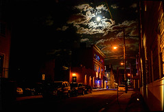FG 15 04 04 002 (pugpop) Tags: moon night pittsburgh pennsylvania lawrenceville 49thst harrisonst 2015 stinkysbargrill