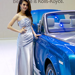 Sexy presenter with blue Rolls-Royce Phantom Drophead Coupe at the 36th Bangkok International Motor Show thumbnail