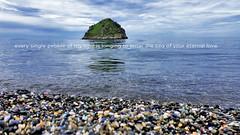 Sea of love (tSos Greq) Tags: blue sea sky beach azul island greek heaven paradise quote playa greece isla islet islote