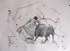 Tango. (www.kevinmaxwellsfineart.com) Tags: bulls bullfighting josetomas graphite chinagraph blood anegitive blackandwhite toros torosymatadores matadores drawing spanish espana tango