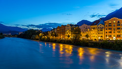 Innsbruck (Steve P Photography) Tags: innsbruck blue hour lzb longexposure long exposure inn water river fluss strom tirol hauptstadt city main tyrol architecture architektur innpromenade classic houses sightseeing canon 6d 2470mm f4 cool colorful bunt color old great