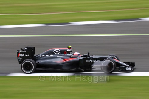Jenson Button in his McLaren in Free Practice 1 at the 2016 British Grand Prix