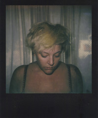 Day 075 (H o l l y.) Tags: impossible project polaroid analog film self portrait flash curtains moving blonde fashion girl summer packing living retro indie vintage