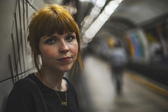 Subaqueous. *explore* (ThePhotographersRepublic) Tags: londonunderground beneath subterranean ginger redhead portrait beauty bokeh vanashing point platform primelens 50mm f14 canonfd canonfd50mmf14 blur fullframe son sony a7r light shadow shallowdepthoffield