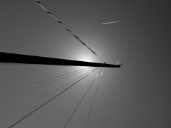 IMG_3355a (patrick_milan) Tags: sea sky blackandwhite bw sun mer white black monochrome silhouette plane soleil brittany noir noiretblanc nb mat ciel drama voile blanc avion voilier portsall
