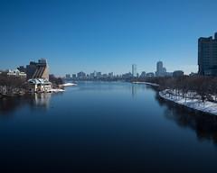 Boston Right, Cambridge Left (Peter E. Lee) Tags: newengland bostonuniversity cambridge harvardbridge winter bubridge hancocktower charlesriver boston prudentialcenter massachusetts 2016 skyline ma snow unitedstates us