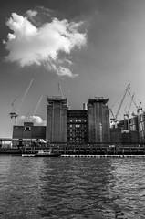 Battersea Power Station (Francis Mansell) Tags: batterseapowerstation powerstation battersea monochrome blackwhite crane constructionsite river water thames riverthames sky outdoor cloud housingdevelopment