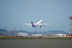 Hawaiian Airlines Airbus A-330 runway 1R SFO DSC_0828 (wbaiv) Tags: san francisco international airport bay area outdoor sunny plane airplane aircraft airliner jetliner passenger commercial jet sfo public access shoreline nikon d3200 hawaiian airlines airbus a330 runway 1r vehicle turbine engine 2016 northern california sf flying machine