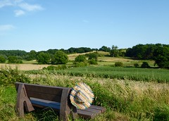 Wherever I lay my hat..... (Lindsey1611) Tags: walking ipswich fynnvalley view sunhat hat bench fields countryside suffolk summer