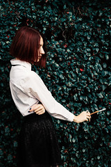 Last one (vaiva.sovaite) Tags: people portrait outdoor daylight girl woman white shirt redhead cigarette smoking photography peace thinking alone vintage conection melancholic green leafs lithuania model fashion colors young youth