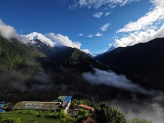 Excellent View Lodge (tim_k1) Tags: walk trail hike trek lens zoom angle wide pro f28 714mm pen omd em1 olympus tail fish fishtail annapurnabasecamp abc camp base annapurna nepal season trekking monsoon september snow top view summit mountain mountains