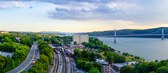 Poughkeepsie Panorama from Walkway Over the Hudson (Billy K. Chen) Tags: birdseyeview dutchesscounty fall hudsonriver hudsonvalley landscape newyork newyorkstate panorama poughkeepsie sunset walkwayoverthehudson unitedstates