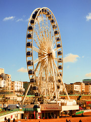 The Brighton Wheel from the Pier (photphobia) Tags: brighton eastsussex southeastengland southeast coast holiday beach sea seaside seafront oldtown oldwivestale outdoor outside architecture building buildings brightonwheel ferriswheel sky skyline